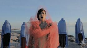 "Video still from Ariana Delawari's video, ""Be Gone Taliban."""
