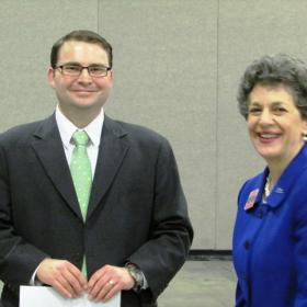 Democratic Candidate for Attorney General Charles Stormont gets strong endorsement from Representative Patrice Arent in her nominating speech Saturday.