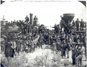 """""""East and West Shaking Hands at Laying of Last Rail"""" (May 10th, 1869)"""