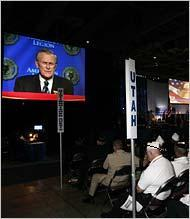 U.S. Secretary of Defense Donald Rumsfeld addresses members of the American Legion at the Salt Palace.