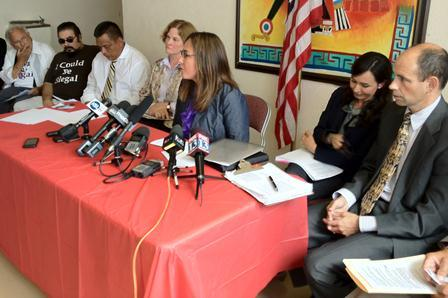 Latino leaders and the ACLU of Utah at a press conference at Centro Civico Mexicano in Salt Lake City