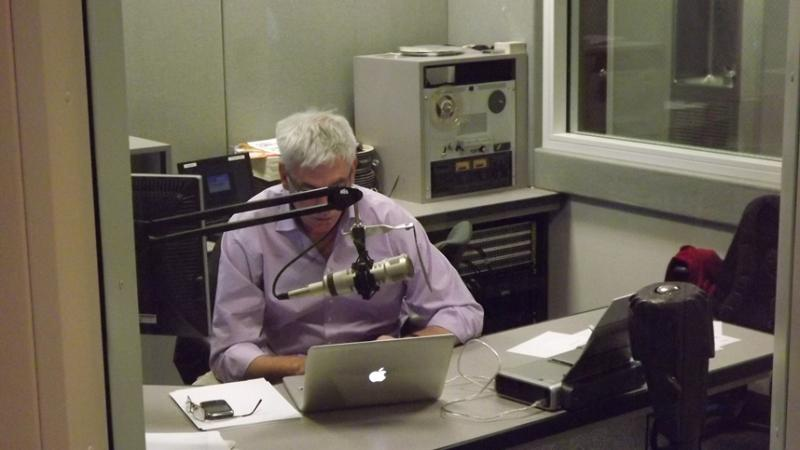 BBC's Owen Bennett Jones at work in KUER's Studio C.
