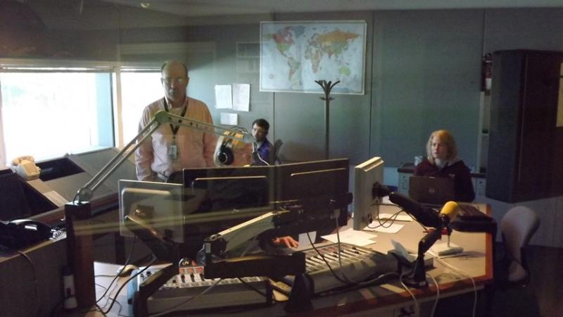 The <i>RadioWest</i> crew in the KUER control room:  Lewis Downey, Mike Anderson, Ben Bombard and Elaine Clark.