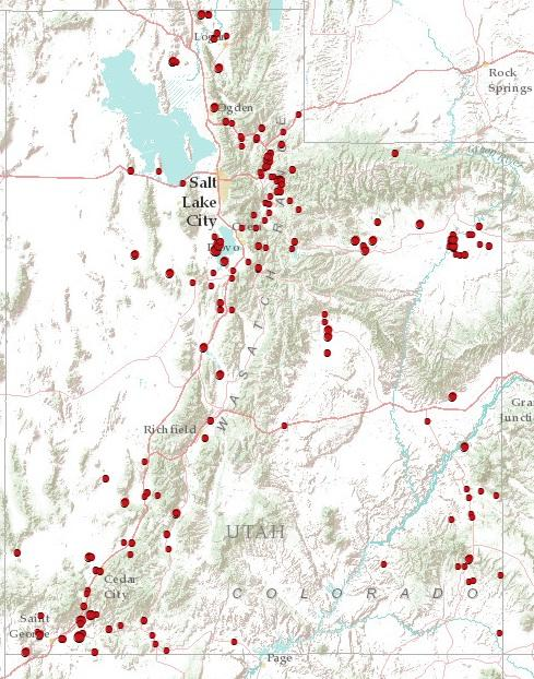 Map of 2012 Utah Wildfires
