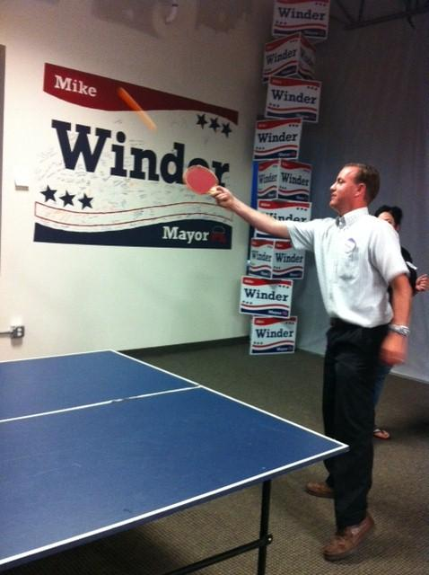 Mike Winder relaxes with ping pong as he waits for the results of the Salt Lake County Mayor Republican primary.