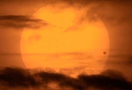 Venus transits in front of the sun