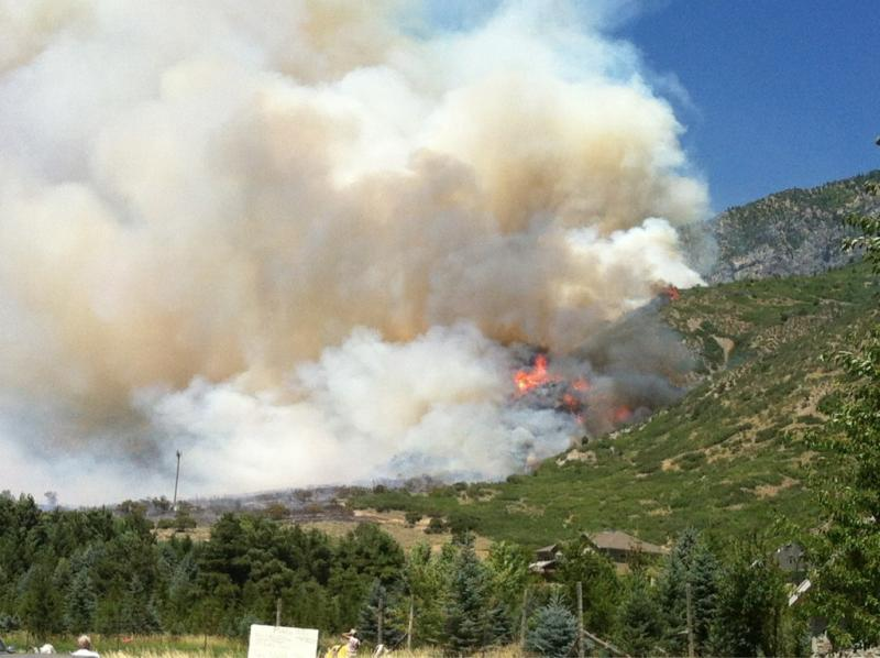 Fire burns near Alpine, Utah. July 3, 2012