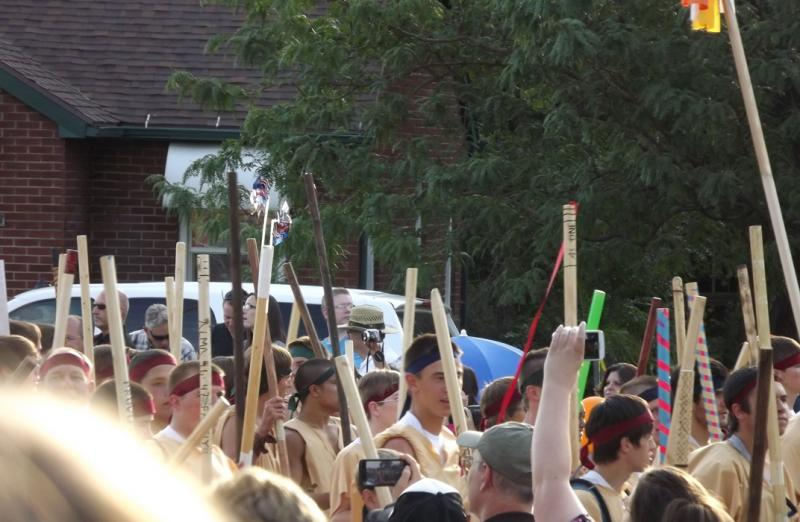 "More than two thousand young men dressed as ""stripling warriors"" marched in the Bountiful Handcart Days Parade."