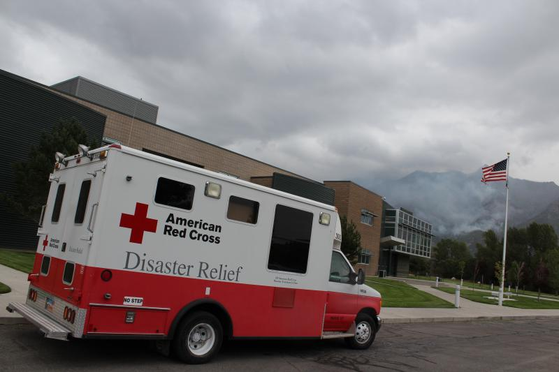 An American Red Cross Emergency Response Vehicle (ERV) outside of Timberline Elementary school in Alpine Utah the morning of July 5.