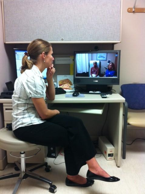 Dr. Susan Rose demostrates a Telehealth consulation with a female veteran in Nevada.