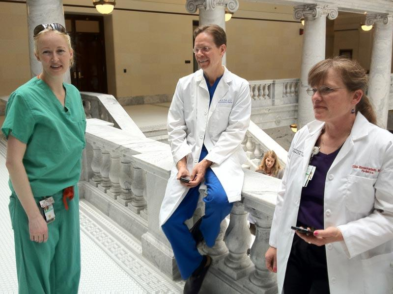 Physician Charles Pruitt with colleagues at the Utah State Capitol on the day of the Supreme Court decision, June 28, 2012.