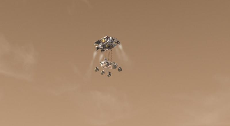 An artist's concept of Curiosity's descent to Mars.