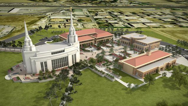 Aerial rendering of the Rome Italy Temple, Religious and Cultural Center