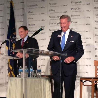 Governor Gary Herbert and Democratic Candidate Peter Cooke face off in their first public debate.