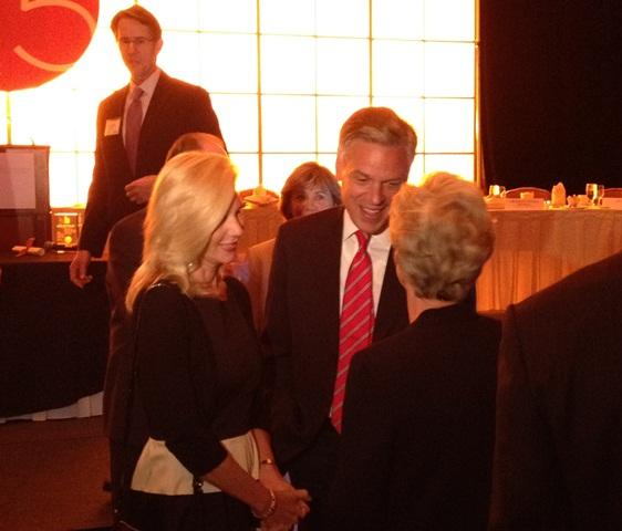Jon Huntsman and his wife Mary Kaye talk to business leaders at the Economic Development Corporation of Utah's 25 Anniversary.