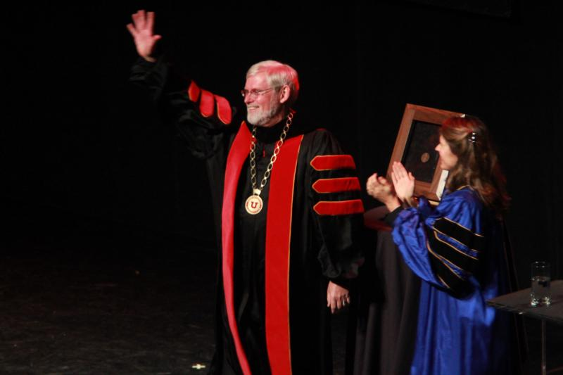 New University of Utah President David W. Pershing and State Board of Regents Chair Bonnie Beesley