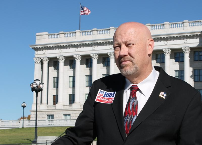 Jay Seegmiller in front of the State Capitol where he once served as Representative.