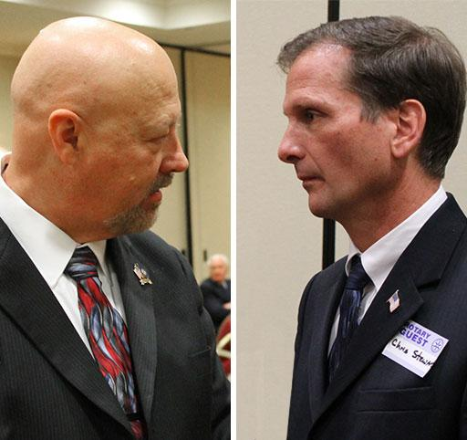 Democrat Jay Seegmiller and Republican Chris Stewart face off at a debate hosted by the Salt Lake City Rotary Club