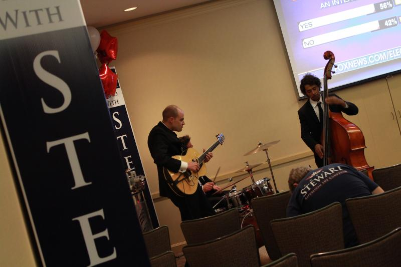 Live band in the Christ Stewart campaign room.