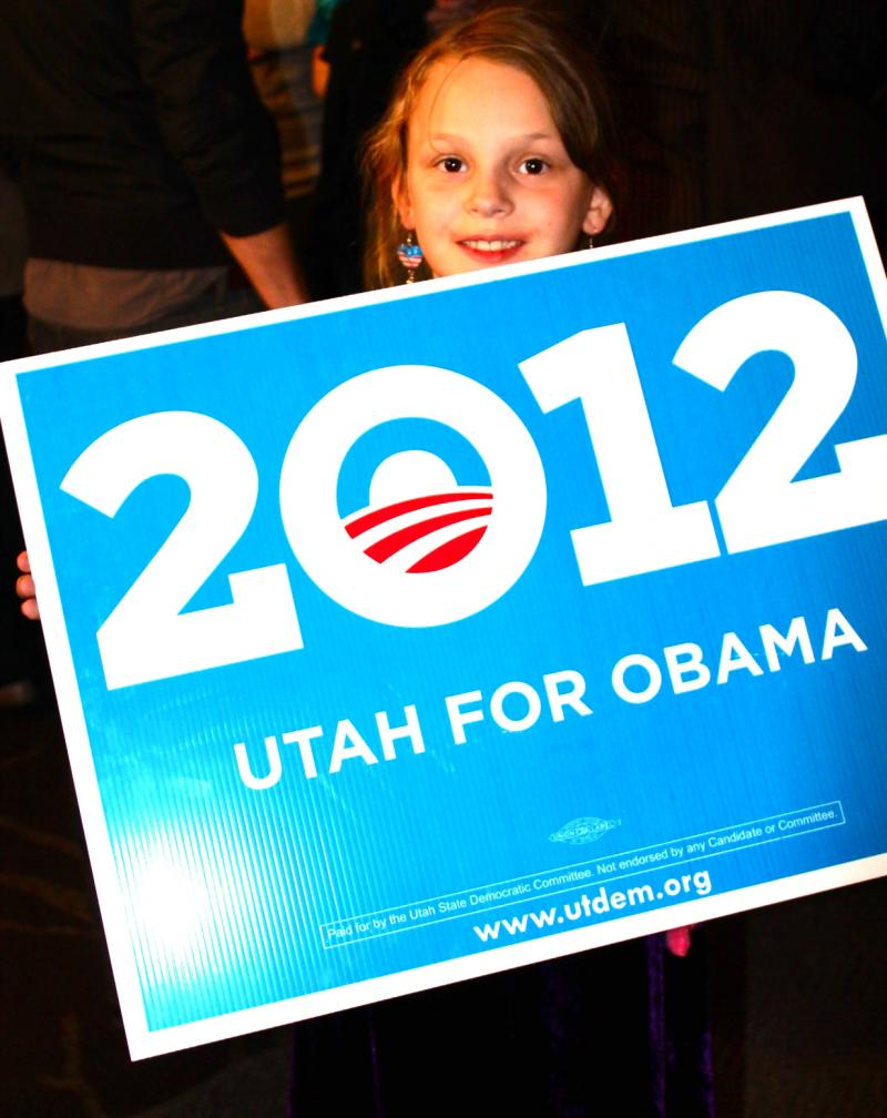 Nine year old Jenna shows her support for President Obama's re-election