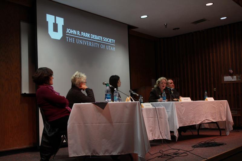 Legislators and Lobbyists debate about abortion at the University of Utah (L-R) Heather Stringfellow Utah Planned Parenthood, Rep. Carol Spackman Moss (D.), moderator, Gale Ruzicka, President Utah Eagle Forum, and Rep. Brad Daw (R.)