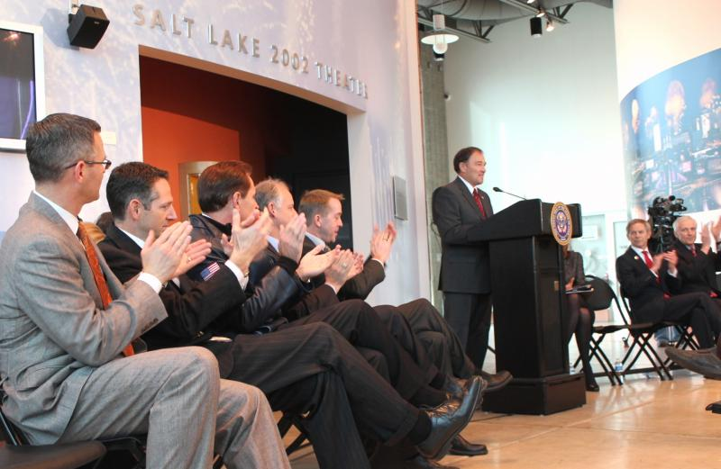 Utah's Olympic Exploratory Committee applauds as Governor Gary Herbert announces his intentions to pursue a bid for the 2026 Winter Olympics.
