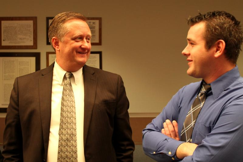 Attorney Wesley Hutchins and client Jake Strickland at the Farmington Courthouse, December 19, 2012.