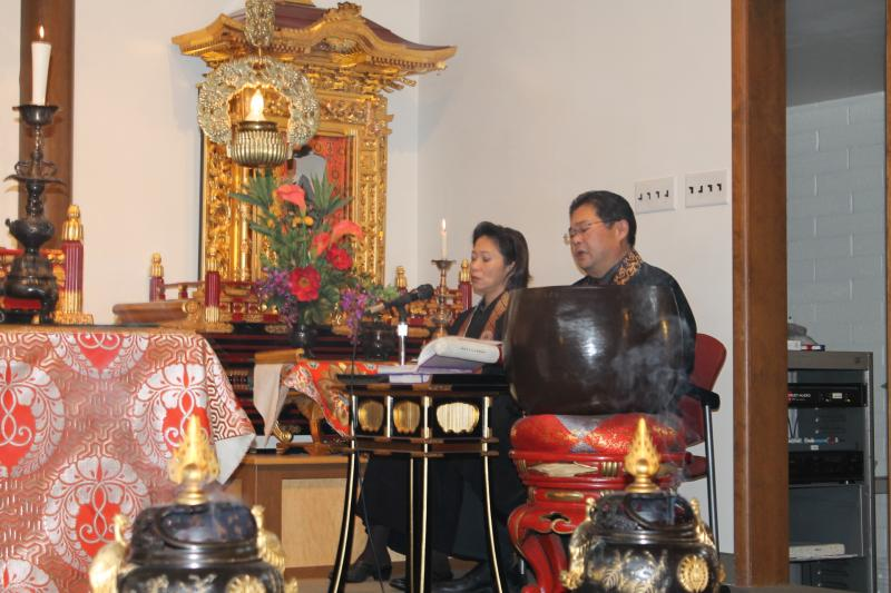 Rev. Jerry Hirano and his wife Carmela lead a service at the Salt Lake Buddhist Temple