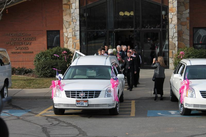 Emilie Parker's casket leaves the Rock Cliff Stake Center in Ogden following her funeral