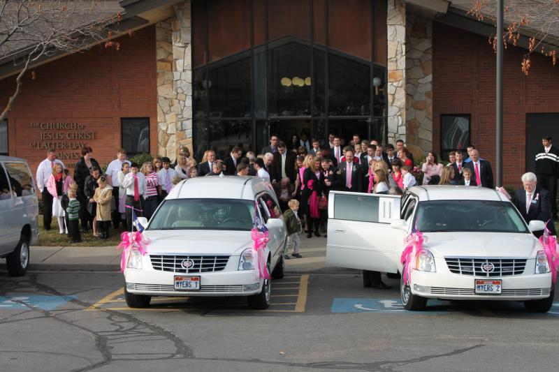 Mourners leave the Rock Cliff LDS Stake Center following a funeral service for Emilie Parker