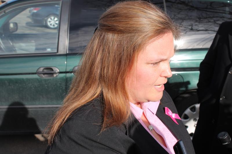 Emilie's aunt, Jill Cottle Garrett, speaks to reporters following the funeral service
