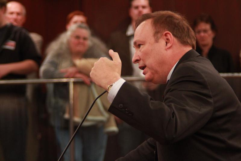 Jim Dabakis speaks to delegates in the Salt Lake County Council chamber