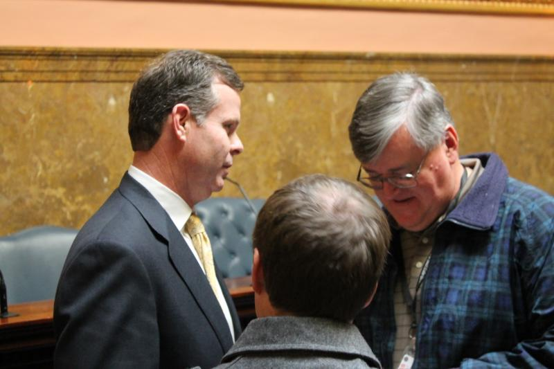 Attorney General-elect John Swallow talks with reporters at Utah's state capitol