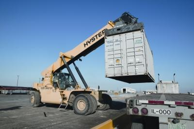 A truck unloads shipments of Class A low-level waste at EnergySolutions' Clive facility.