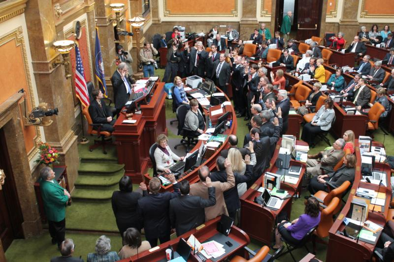 New members of the Utah House of Representatives are sworn into office on the first day of the 2013 legislative session.