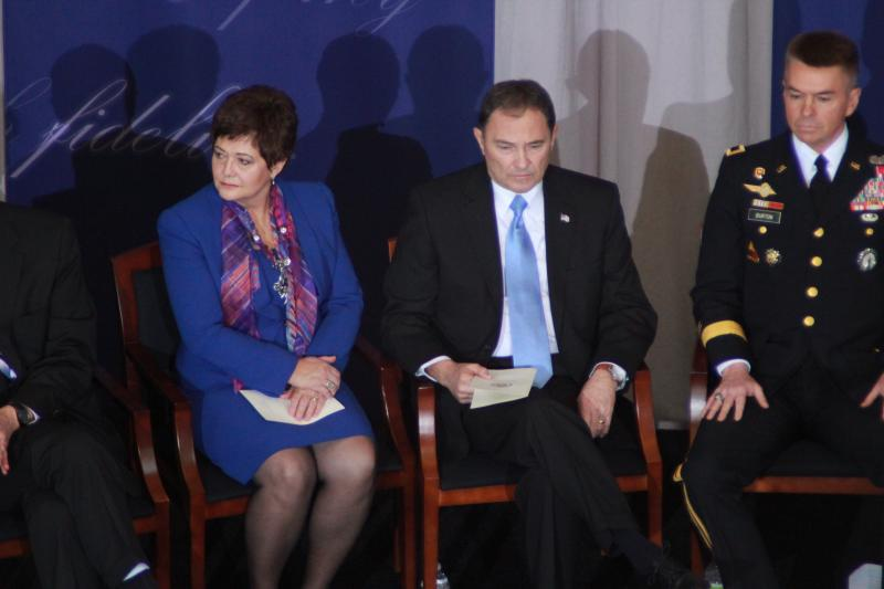 Governor Gary Herbert sits with his wife, Jeanette, during inauguration ceremonies