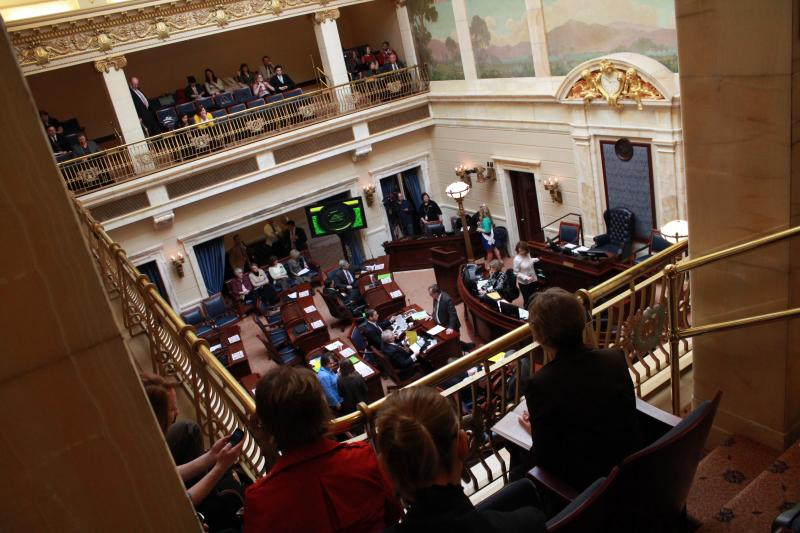 Spectators watch as the Utah Senate begins the 60th Utah Legislative session