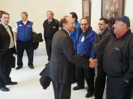General Manager of Utah Transit Authority Mike Allegra greets UTA employees before Safety Week press conference.