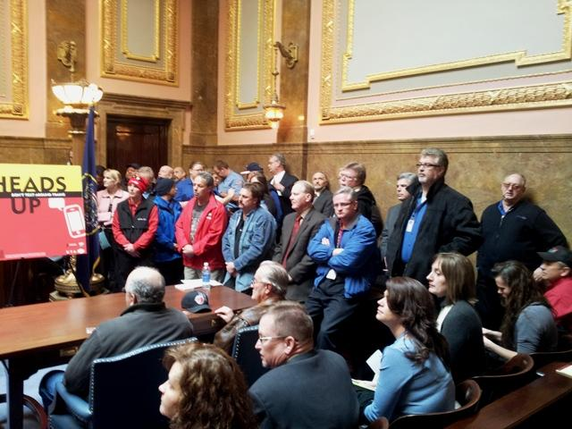 UTA Rail and Bus Operators at Safety Week event in Utah Supreme Court Chambers.