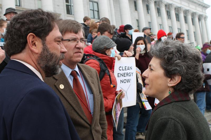State Democratic Representatives Brian King, Joel Briscoe, and Patrice Arent of Salt Lake City take part in the rally.