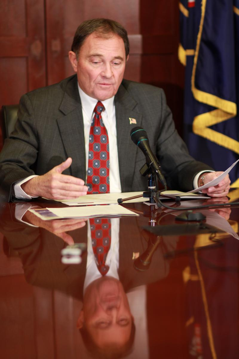 Governor Gary Herbert responds at his weekly media session