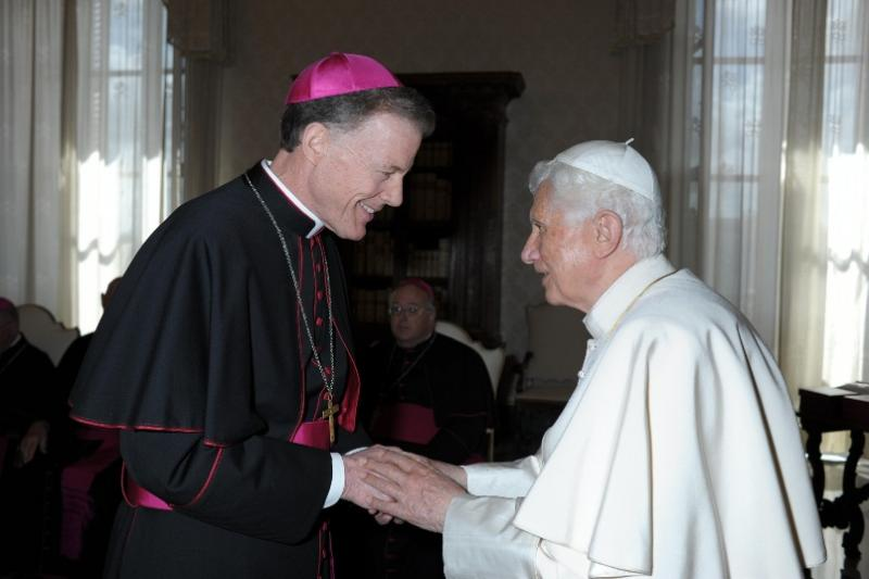Utah Catholic Bishop John Wester greets Pope Benedict XVI at the Vatican, April 2012