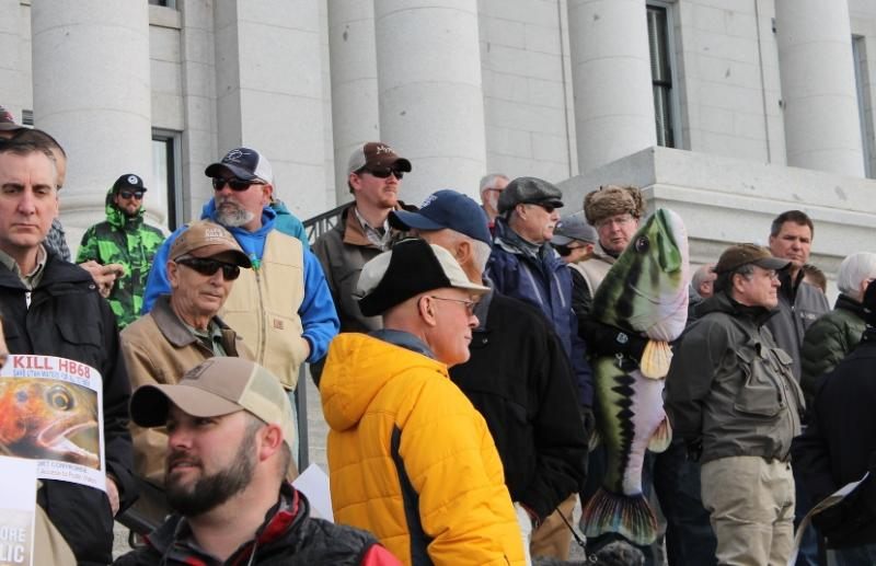 Anglers gather on the steps of Utah's state capitol to rally for better access to streams