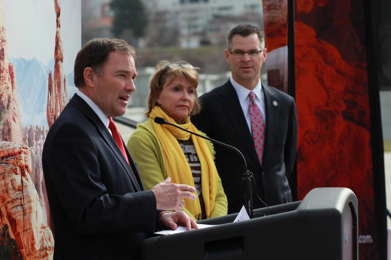 Governor Gary Herbert, Vicki Varela, and Spencer Eccles