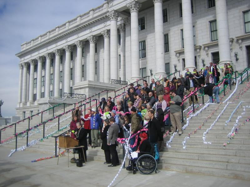 Supporters of Medicaid expansion rally at the Utah State Capitol