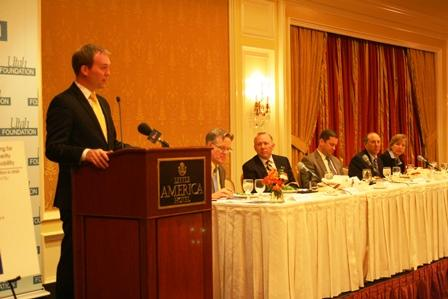 Salt Lake County Mayor Ben McAdams addresses luncheon. Pictured continuing left to right is Stephen Kroes, Mark Bouchard, Aaron Osmond, Michael Allegra and Natalie Gochnour