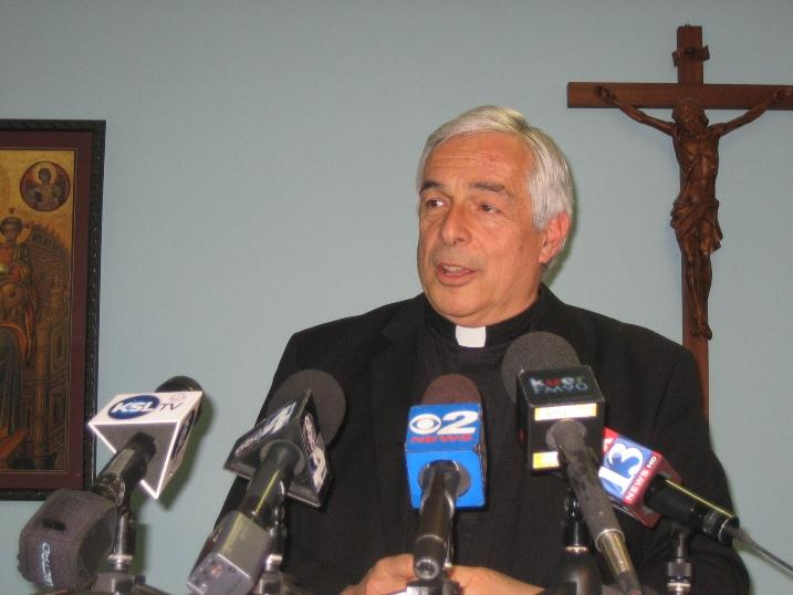 Monsignor Joseph Mayo speaks to reporters about the election of Pope Francis I