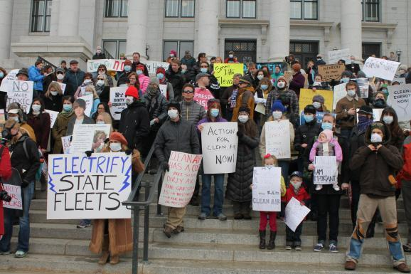 Protesters gather at the Capitol earlier this year to express concern over the state's poor air quality.