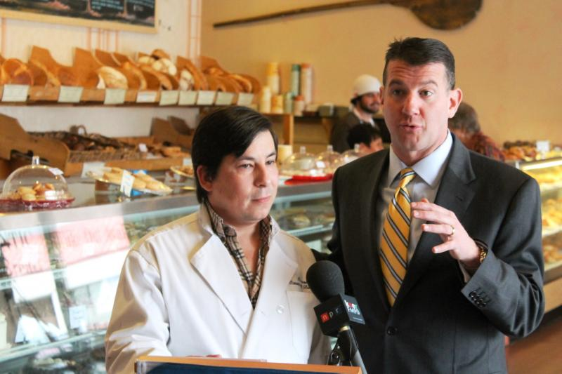 Andre Tsalpatouros (left) is the owner of Pierre Country Bakery. He and Randy Shumway, the CEO of the Cicero Group, talk about the up and downs of the current local market.