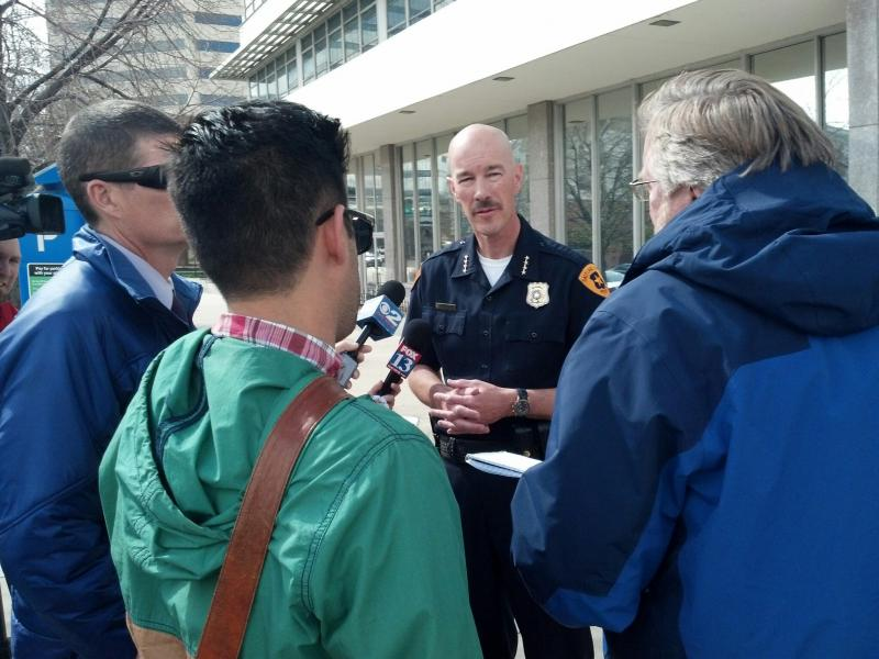 Salt Lake City Police Chief Chris Burbank speaks to media outside of the Public Safety Building